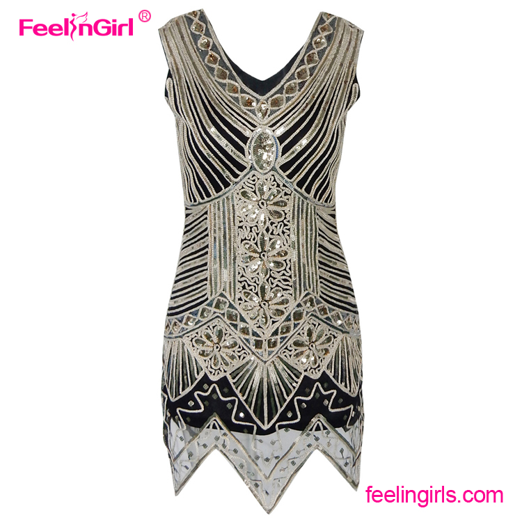 In Stock Sleeveless Sequins V Neck Lady Fashion Prom Vintage Dress