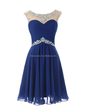 Elegant new arrival Royal blue chiffon rhinestones short prom dresses for party