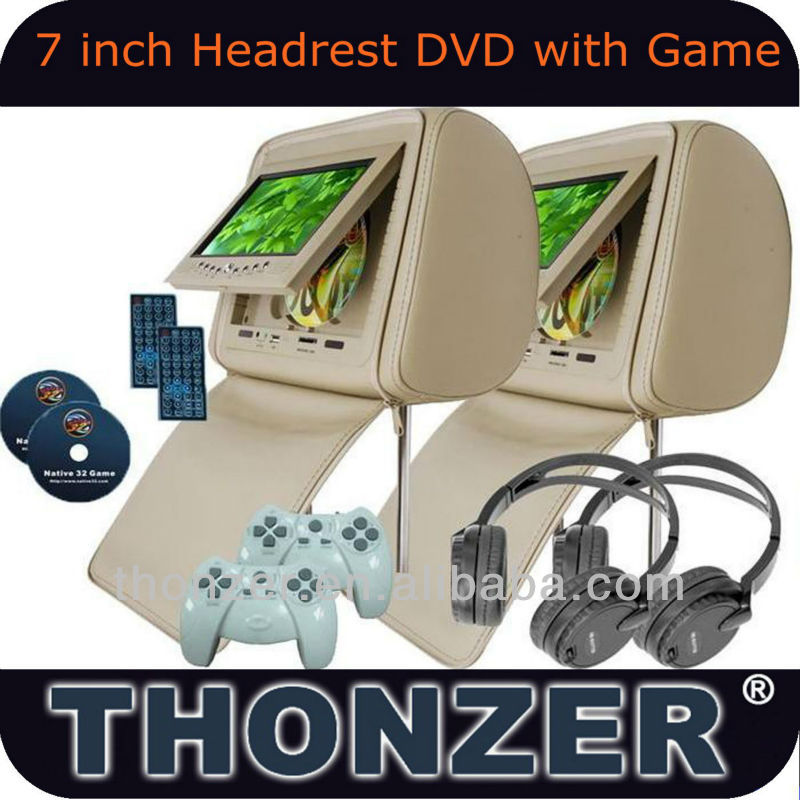 Car Headrest DVD player with wireless game function and SONY Loader (TZ-DH761)