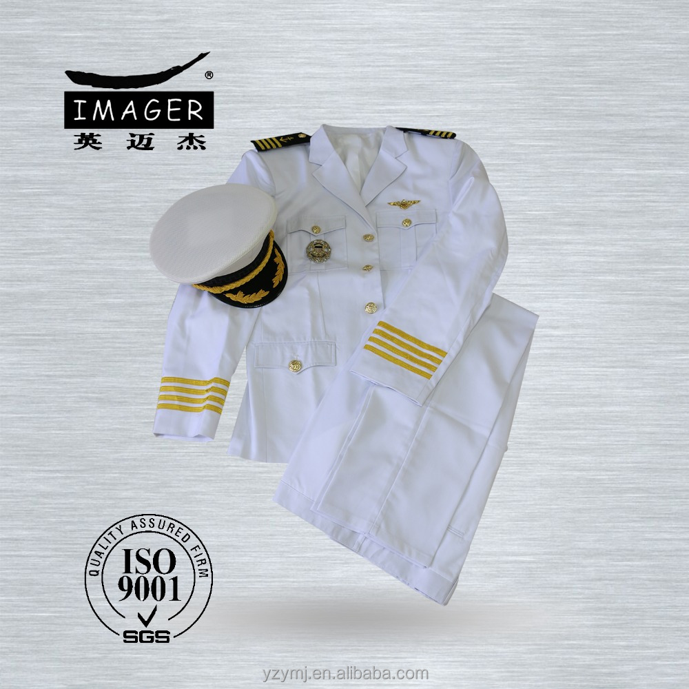Pure white military ceremonial uniform for captain airlines with customized belts