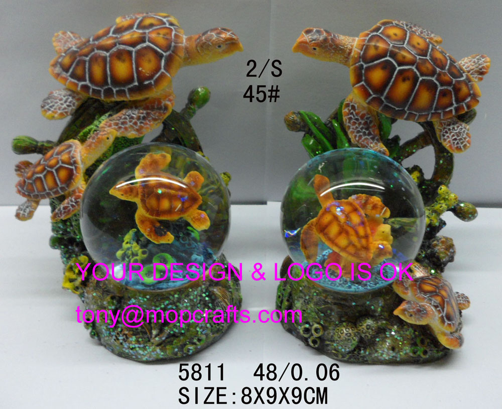 Polyresin turtle snow globe gifts-#5811