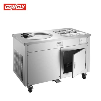 Delicious Double flat round pans fry roll ice cream machine/ice cream vending machine
