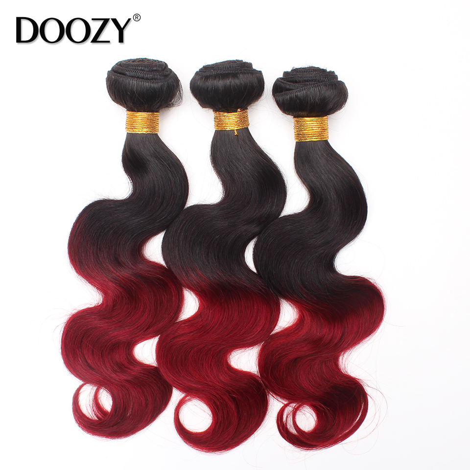 Wholesale remy human hair two tone ombre burgundy red brazilian hair