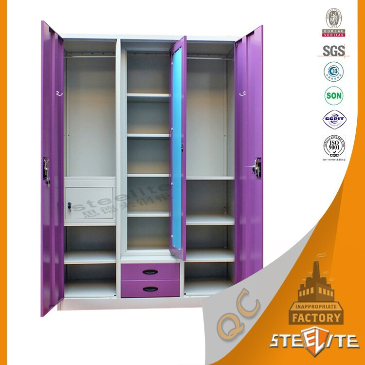 Succinct home furniture steel wardrobe wardrobe for Bedroom cabinet designs india