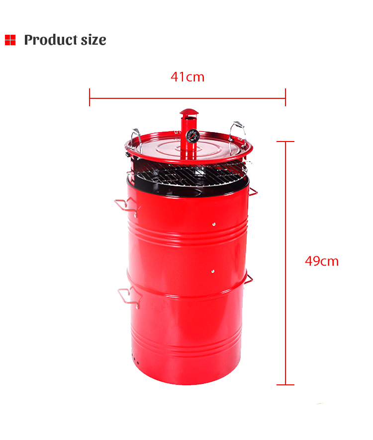 4 in 1 Multi-functional can be used as fire pit and charcoal BBQ grill and red barrel smoker