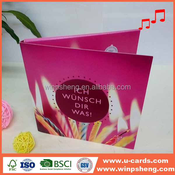 A5 size assorted sound module musical greeting cards