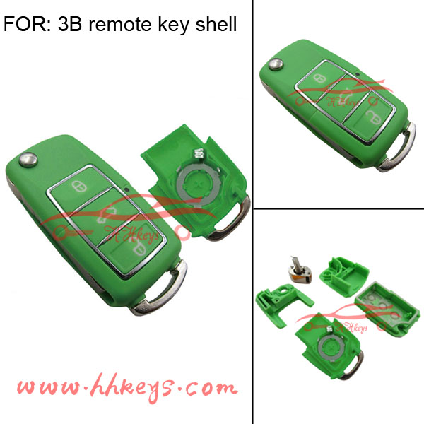 Universal remote flip control car key for 3buttons VW with battery place in green