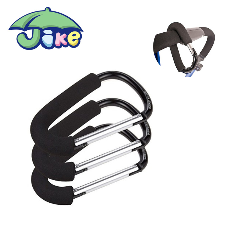 Extra large Stroller Hooks Baby Products Aluminum Stroller Hook with PU leather strap