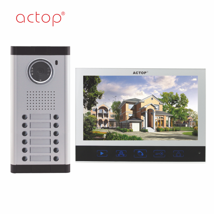 Shenzhen factory ACTOP wired video door phone water proof for 12 apartments building