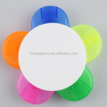 zhejiang factory 2018 cute 5 color flower shape highlighter pen