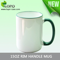 High quality sublimation 15oz coated Rim Handle Mug