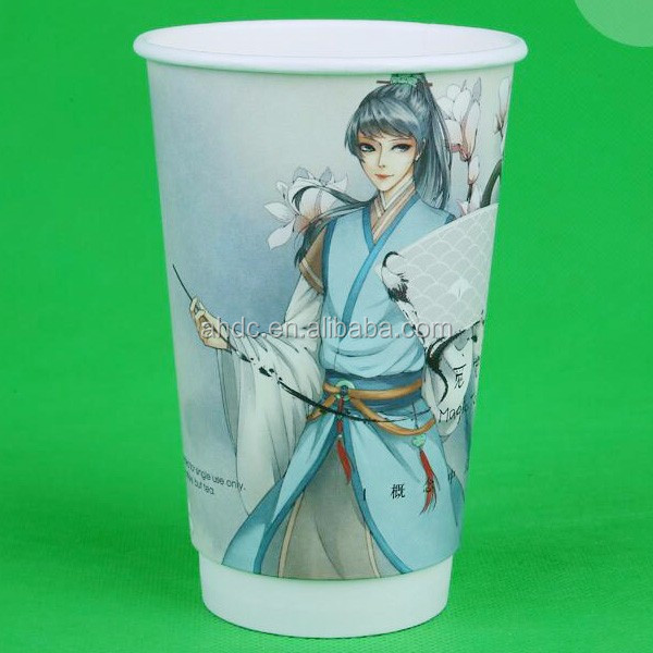 16oz double wall figure printed paper cups microwave safe