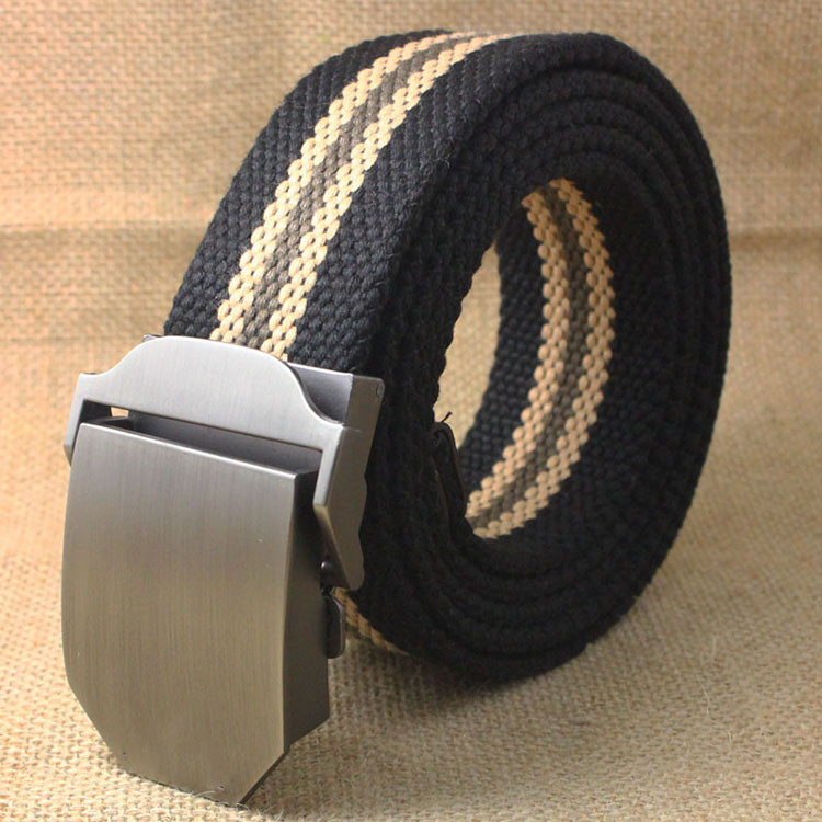 fp1019 Adjustable Metal Auto Buckle Custom Stripe Boys Canvas Belt