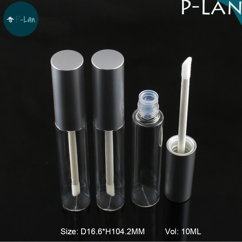 Low MOQ Silver Aluminum Cap Round Clear Lip Gloss <strong>Tube</strong>