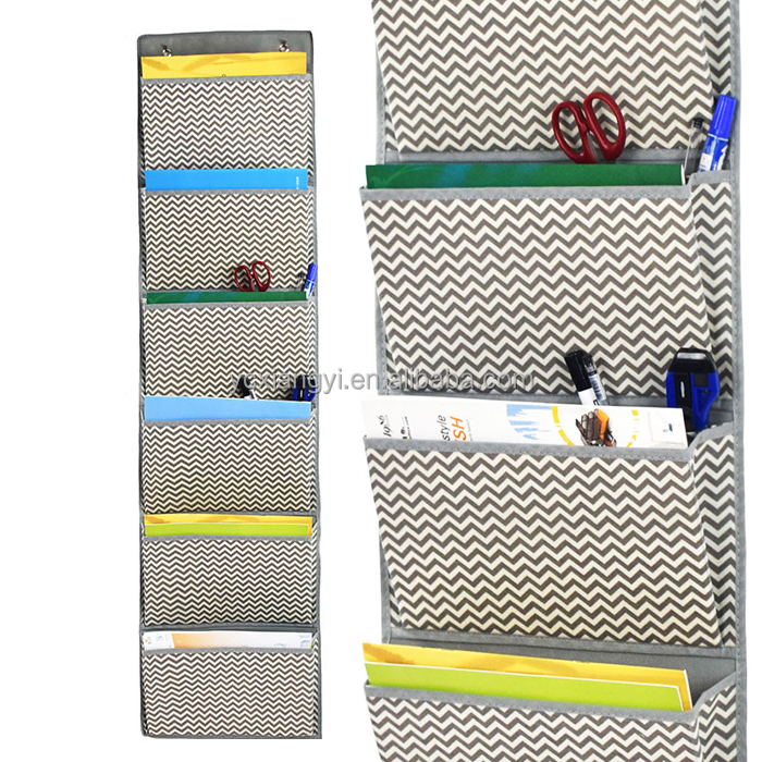 Wall Storage Pocket Chart File Organizer with 3 Door Hangers
