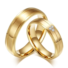 Gold Sand Polished,Love Fashion CZ Diamonds Stone Stainless Steel Lovers Band Couples Wedding Promise Ring
