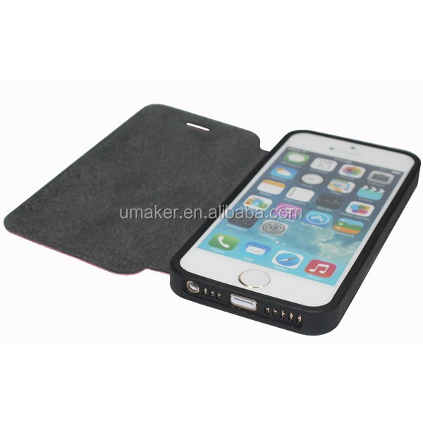 Umaker Hot selling 4inch Flip PU Leather Case for iPhone5/5s
