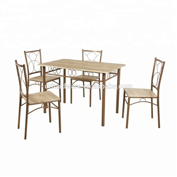 1+4 luxury morden wood top metal frame dining table set for home furniture