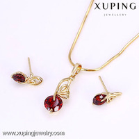 61718 Xuping Jewelry Crystal 14k Gold Filled Necklace Earrings Set