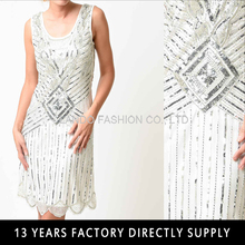1920s White & Silver Sequin Beaded Flapper Dress