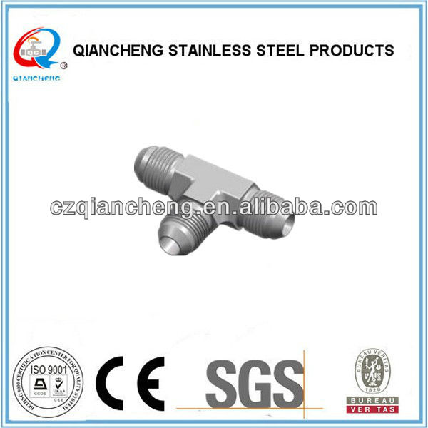 "3/4"" stainless steel 304 thread tee fittings (Metric Thread 74 Cone Flared Tube Fitting)"