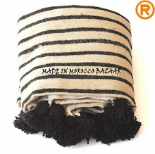 Best Selling Hand Woven Jet Black Pom Pom Striped Bedspread Blankets