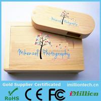 Customize LOGO wooden+Box Personal LOGO print pen drive 8GB 16GB 32GB USB 2.0 usb Flash Drive pendrive