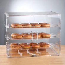 Bagels Donuts 3 Tray Bakery Clear Acrylic Display Case with Rear Doors