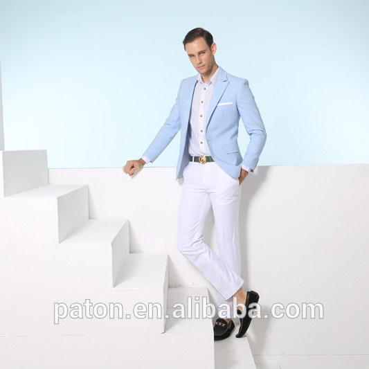Fashionable Men Fashion Slim Fit Formal Light Blue Color Suit