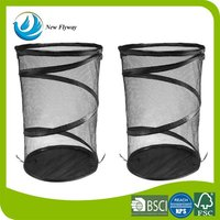 Durable folded clothes laundry basket mesh polyester laundry hamper with metal coil and pop up design