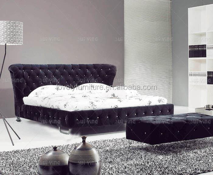 High headboard crystal cover design adult sized bed B903