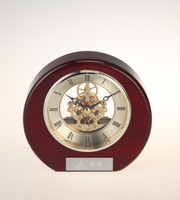 Hot elegant red wooden skeleton table clock