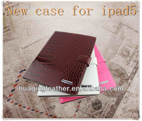 Crocodile Pattern PU leather case for ipad 5 with Crocodile Wallet case for ipad 5 crystal tablet case for ipad 5