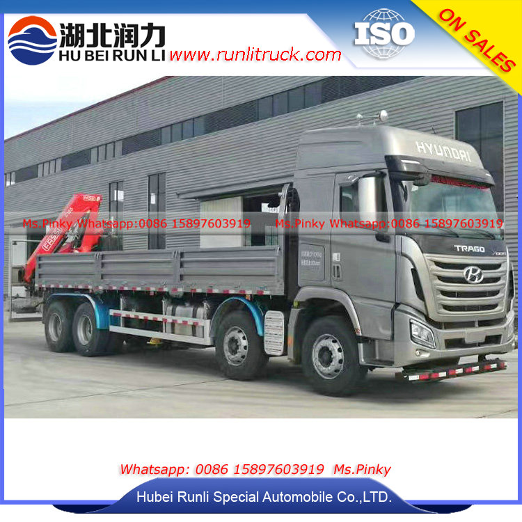 Hyundai 12Tons Cargo Truck With Crane 12Wheels Lorry Crane Trucks