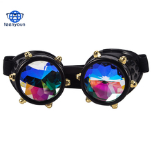 Hot Black Kaleidoscope Reflation Lens Plastic Frame True Colors Mirror Rainbow Lens Sunglasses Crystal Lenses Steampunk Goggles