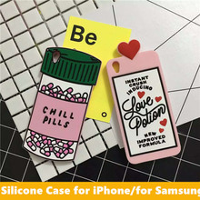 3D Cute Chill Pill And Love Potion Silicone Rubber Cell Phone Case for iPhone 6