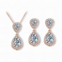 Pretty Delicate CZ Diamond Bridals Jewelry Sets Shiny Necklace Earring For Women Austrian Crystal Jewelry Sets Wholesale