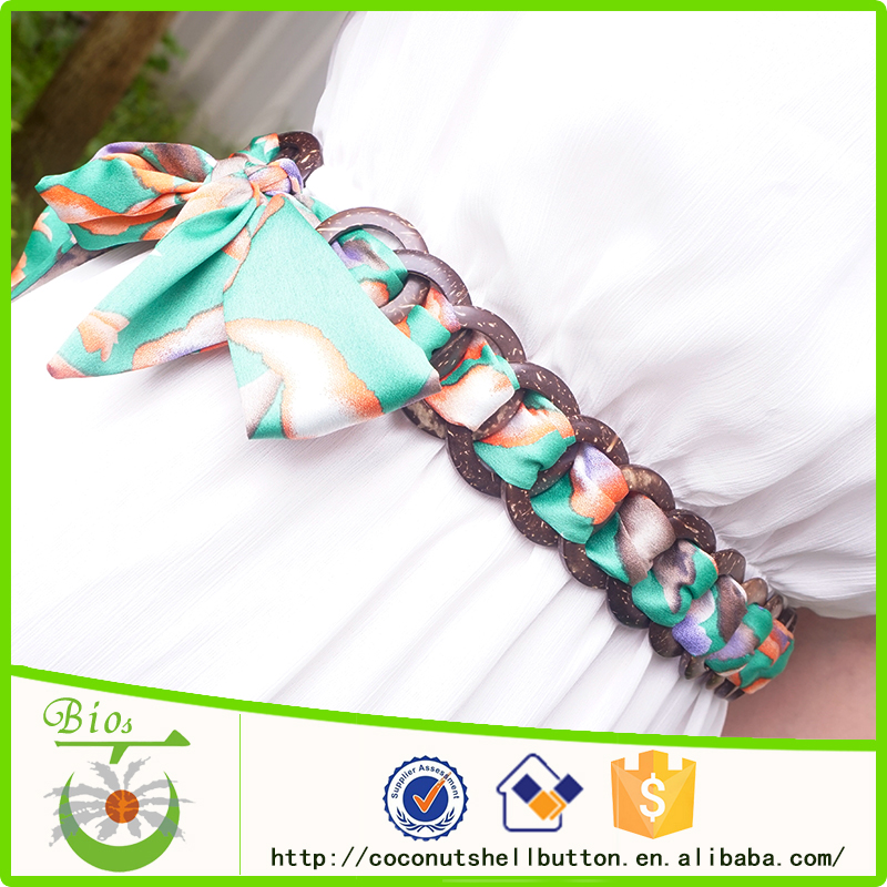 Wholesale natural coconut ring beaded women belt waistband