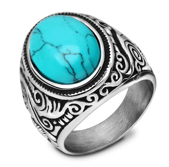 Hot sell jewelry stainless steel bezel setting natural gemstone turquoise <strong>ring</strong> for men and women DSR --046