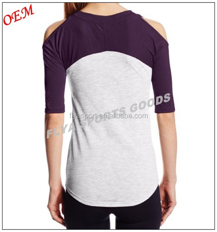 50% Cotton/50% Polyester Athletic Classic Yoga Wear Fitness Women's Yoga T-shirt