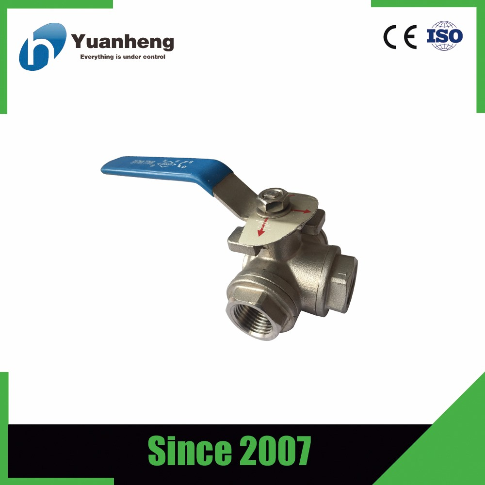 Made in china L type and T type three way thread ball valve