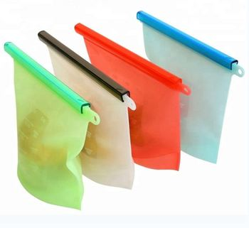 High Quality Fridge Food Preservation Bag Reusable Silicone Food Storage Bag With Zipper