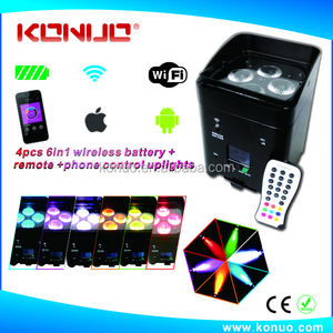 Smart phone control led uplights DMX 4x12W RGBWA+UV remote control dmx wifi battery powered dj led par lights wireless