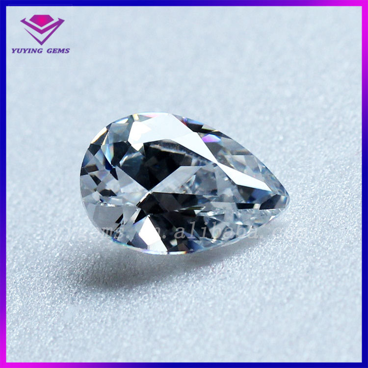 Best Selling White Cubic Zirconia Simulated Synthetic Diamond Pear Shape CZ Gemstone