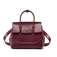 1HD0047 Famous Brand Split Leather Wine Red Vintage High Quality Luxury Woman Bags Handbag