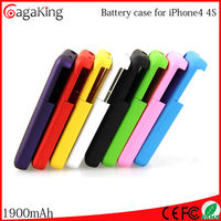 Battery case for iphone 4 4s 1900mAh CE FCC RoHS approved phone case