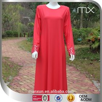 2015 Cheap And Elegant Long Sleeves Red Bridal Dress Comfortable Abaya