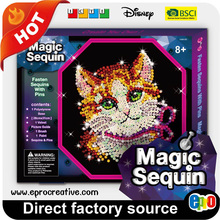 EPRO CA9312D decorative sequin art picture, kitty design diy craft set in colour box