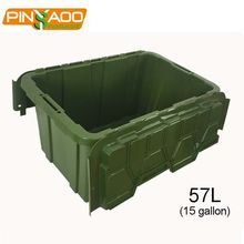 Green Waterproof 15 Gallon Supermarket items Sundries Storage Box With Secure Clip Handles