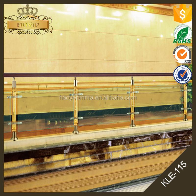 Nieuwste ontwerp rvs base opknoping glas goedkope trap leuning balustrade met clear acryl - Ontwerp leuning ...